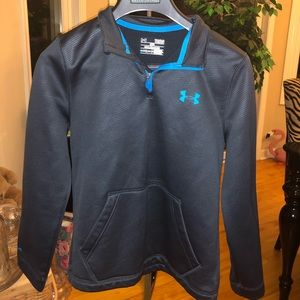 Black and blue under armour 3/4 zip up jacket